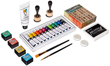 8913bef56566 Acrylic Paint Set 12 Colors + 2 Brushes  Amazon.in  Luscombe G  Books