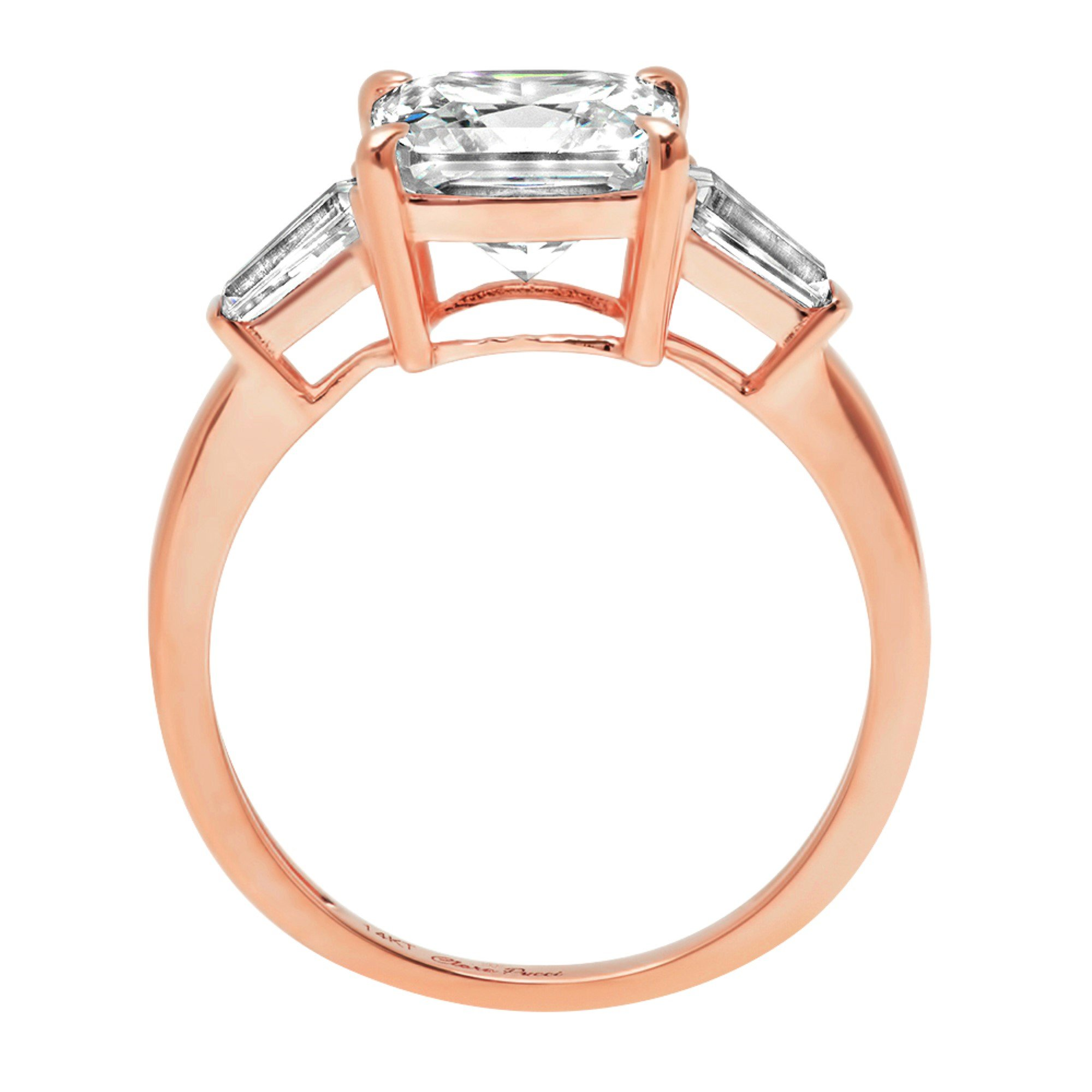 Asscher Baguette 3-Stone Classic Solitaire Designer Wedding Bridal Statement Anniversary Engagement Promise Ring 14k Rose Gold, 3.7ct, 7.5 by Clara Pucci (Image #2)