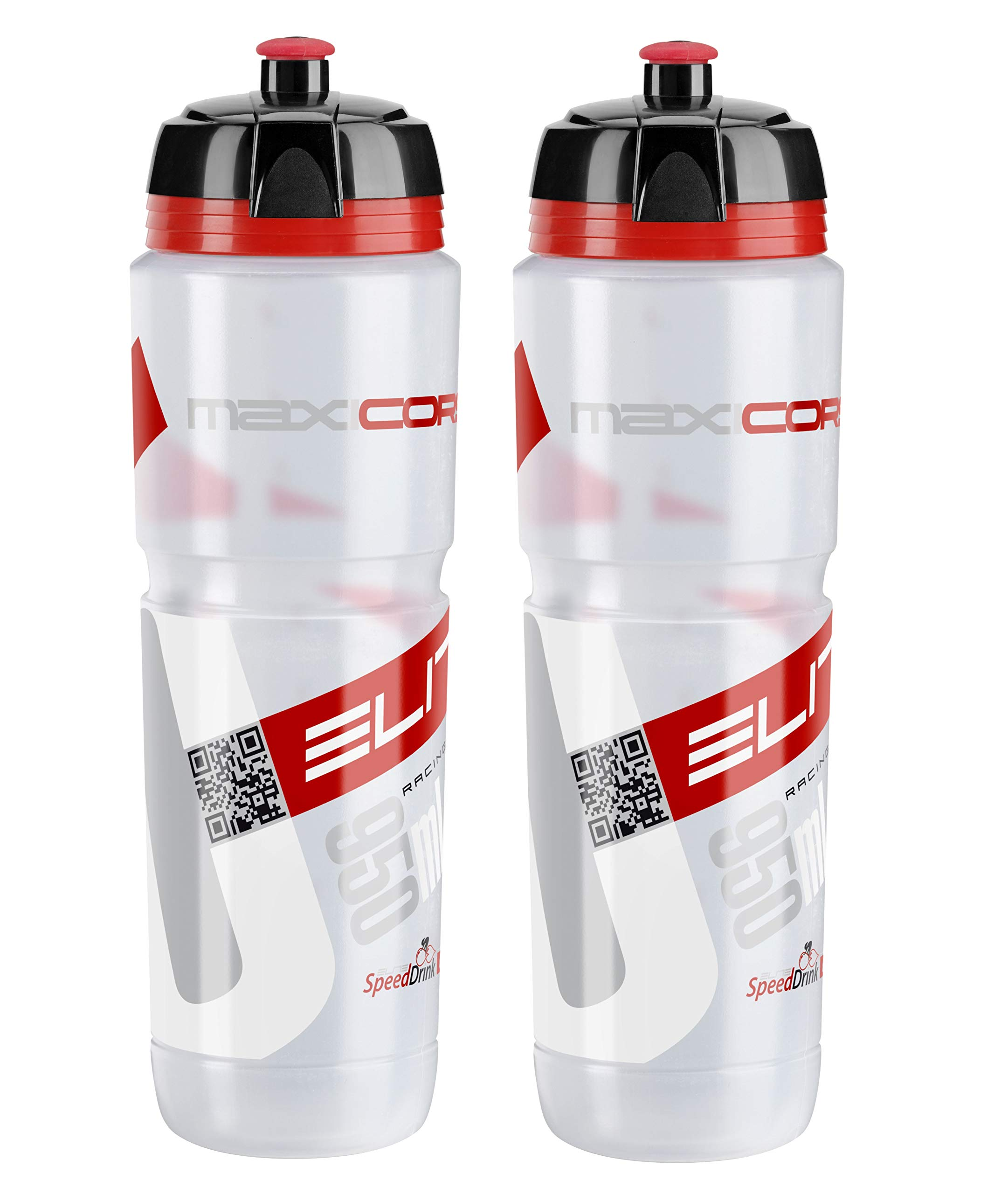 Elite Corsa Maxi Water Bottles - Clear/Red, 950ml/ea (x2) by Elite Cycling