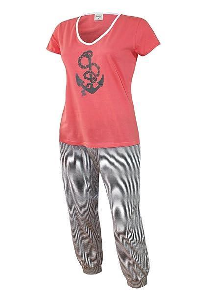 7b7cc012170b00 Schlafanzug Kurz Caprihose Damen Pyjama Kurz Damen Nachthemd Kurz aus 100%  Baumwolle softweich Gr. SML XL