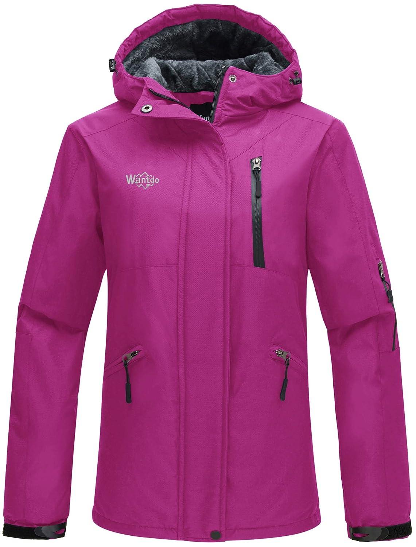 Wantdo Women's Hooded Windproof Ski Jacket Fleece Winter Coat Large) WDHW1194