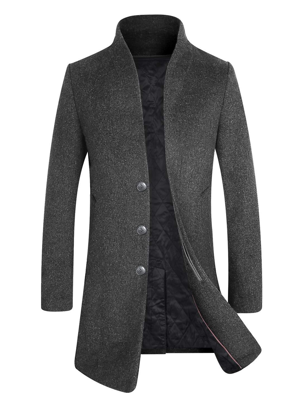 APTRO Men's Fleece Lining Slim Fit Wool Trench Coat 1681 Gray XS by APTRO