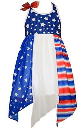 35f43a92eb Amazon.com  Bonnie Jean Little Girls Patriotic Flag Dress  Clothing