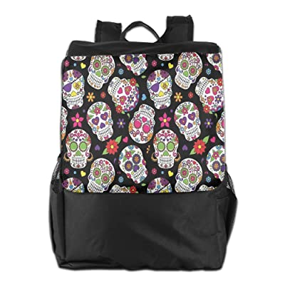 Newfood Ss Festive Graveyard Mexico Ritual Figures Mask Design Outdoor Travel Backpack Bag For Men And Women