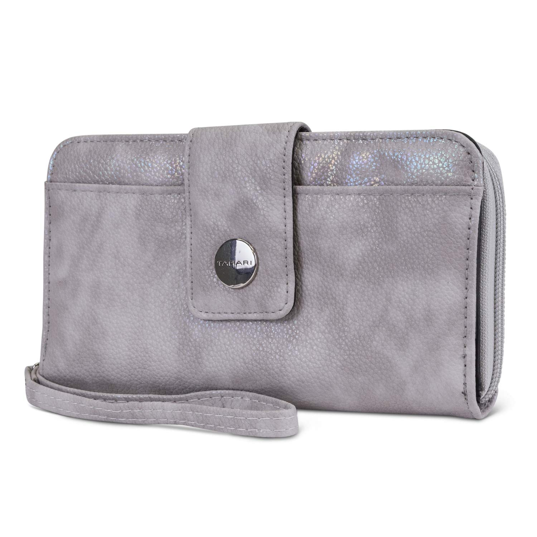 Tahari Vegan Leather RFID Womens Zip Around Wristlet Clutch Wallet With Phone Pocket (Sandy Dune)