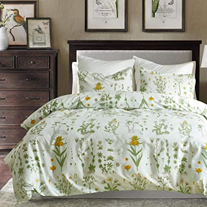 Linen Specialist Duvet Cover Set Floral With Zipper Closure Yellow Flowers And Green Leaves Pattern Printed On White 100 Microfiber Bedding Sets For Women Girls King Size Amazon Co Uk Kitchen Home