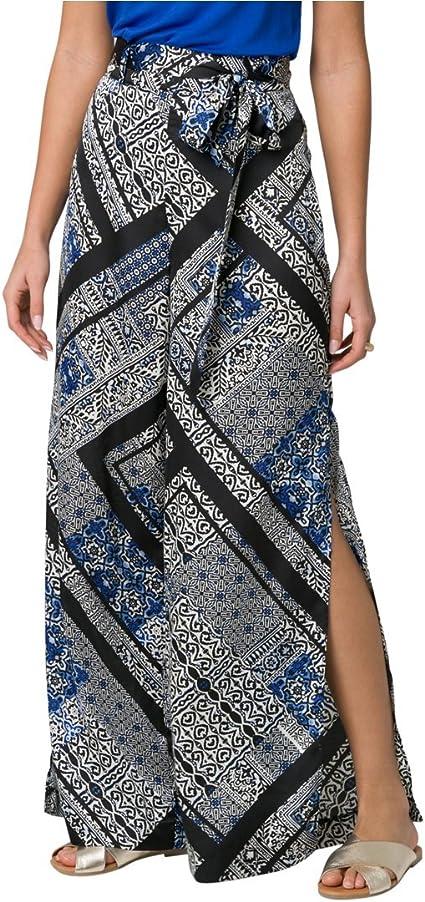 wodceeke Summer Women Cotton Linen Casual Wide Leg Elastic Waist Palazzo Culottes Trousers Pants