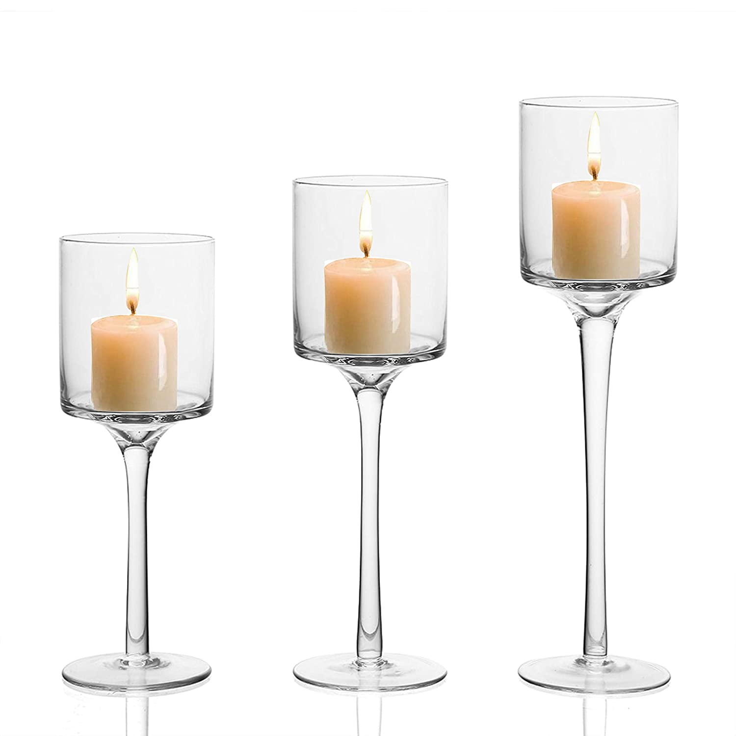 Candle Holder 3 Pcs Different Size L 26cm M 23cm S 20cm Tall Clear Glass Tealight Candle Holder Holds Votive Candles Pillar Candles For