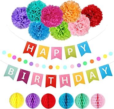 Amazon.com: Suministros de fiesta de cumpleaños arco iris ...