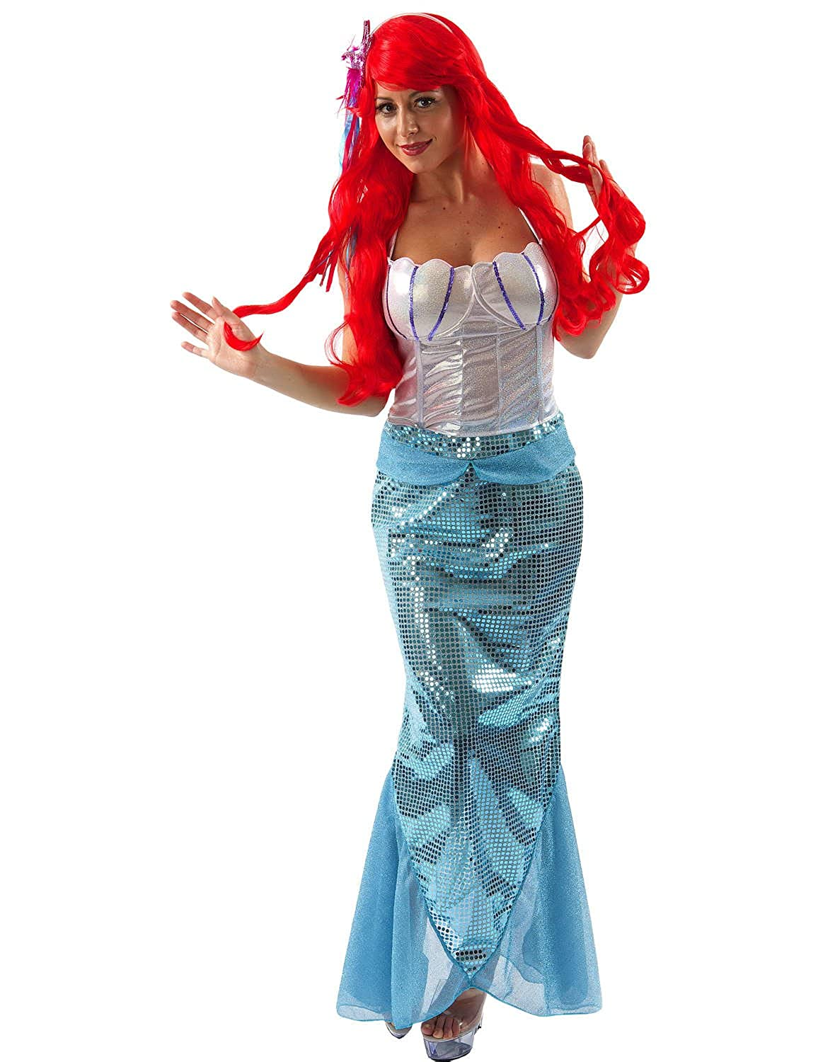 2d7d51ec53e fancy dress warehouse Ladies Little Mermaid Costume Fairytale Book Day Week  Size 8-14 Extra Large  Amazon.in  Clothing   Accessories