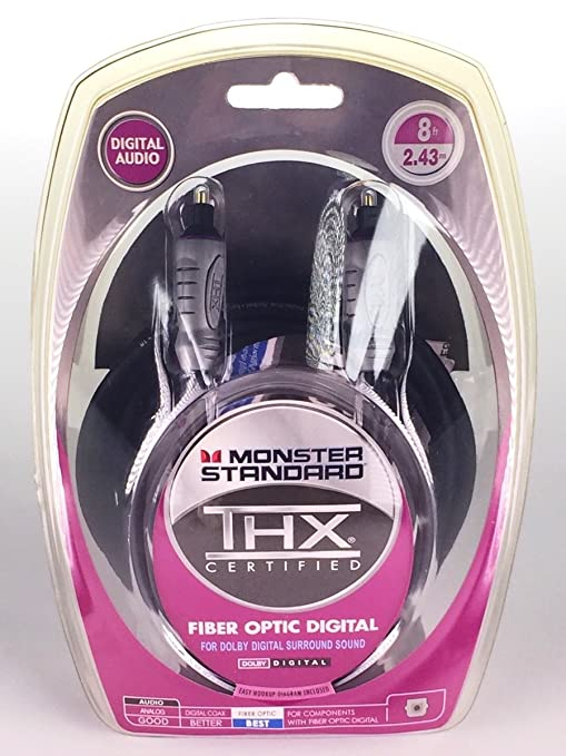 Monster Standard THXI100-FO-8 THX Certified Toslink Fiber Optic Digital Audio Cable For