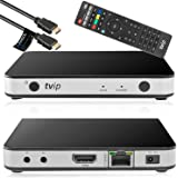 TVIP S-Box v.605 IPTV 4K HEVC HD Android 6.0 Linux Multimedia Stalker IP TV Streamer 1GB RAM + 8GB eMMC, MicroSD Card, ext.IR, 5GHz Wlan inkl. Anadol HDMI Kabel