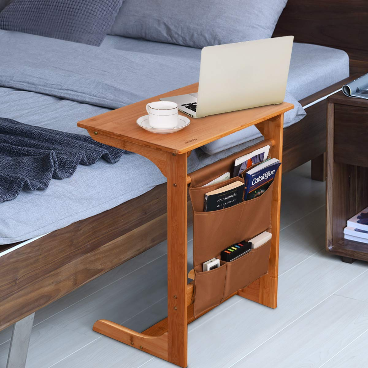 Tangkula Bamboo Sofa Side Table, TV Tray Couch Coffee Snack End Table Bed Side Table with Storage Bag, Laptop Desk Modern Furniture for Home Office