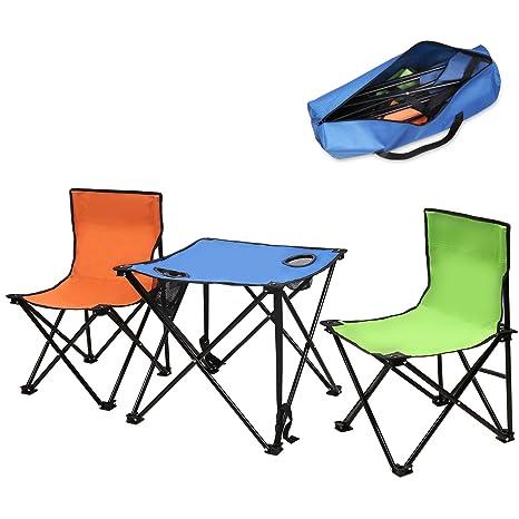 MoKo Portátil plegable sillas de mesa de camping kit,peso ligero plegable Oxford tabla de tela con 2 taburete conjunto soporta hasta 220 libras,para ...