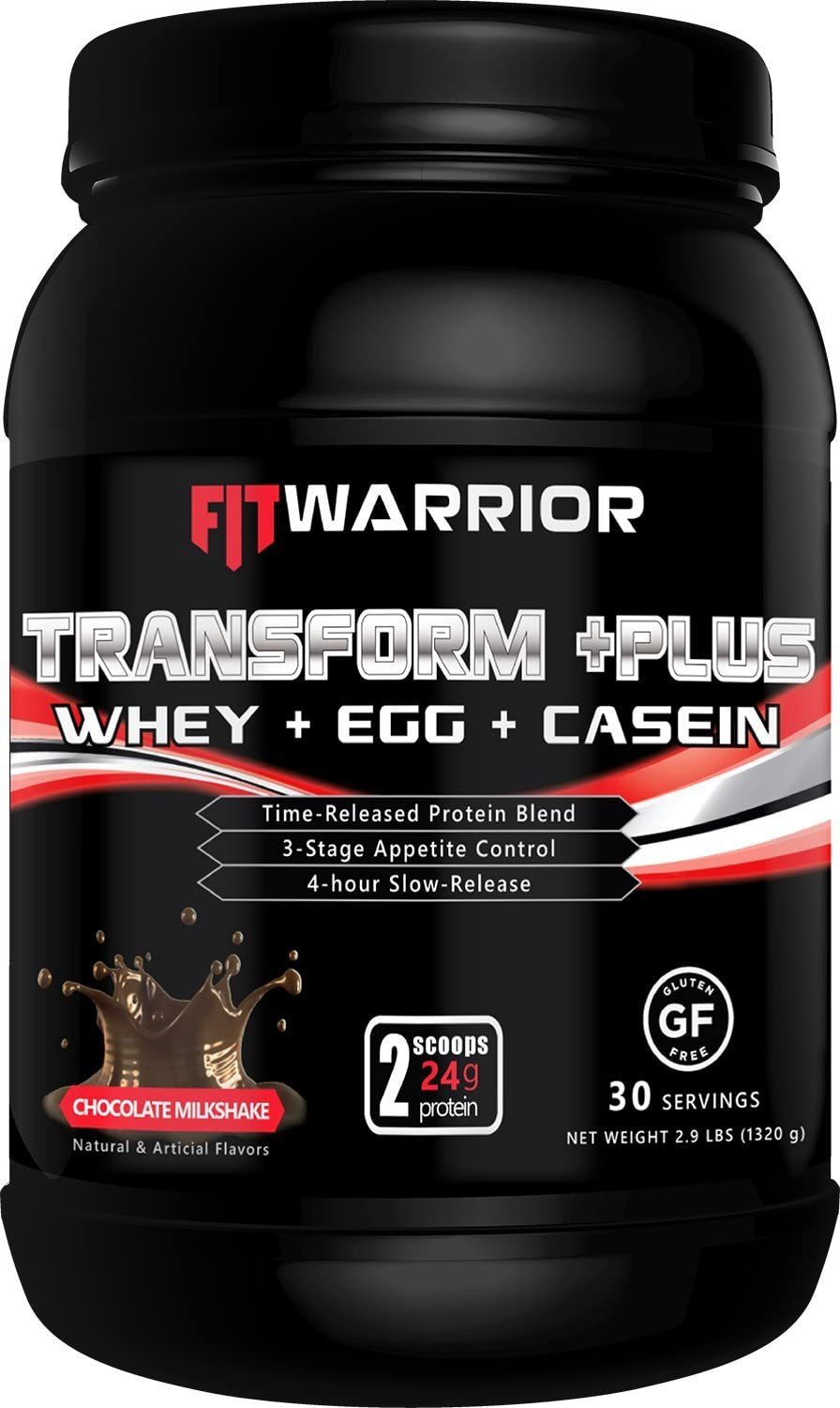 TRANSFORM PLUS Whey, Egg White, Milk Casein Protein Blend Chocolate Milkshake , 24g Protein, 2.9 Pound Powder, 30 Serving – Meal Replacement, Anti-Hunger 4-Hr Time-Release Appetite-Control Formula