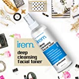 Irem Deep Cleansing Facial Toner for all skin types - Pore minimizing, Soothing & Hydrating contains Witch hazel, Aloe vera, Panthenol, Allantoin, Glycolic and more, 100m