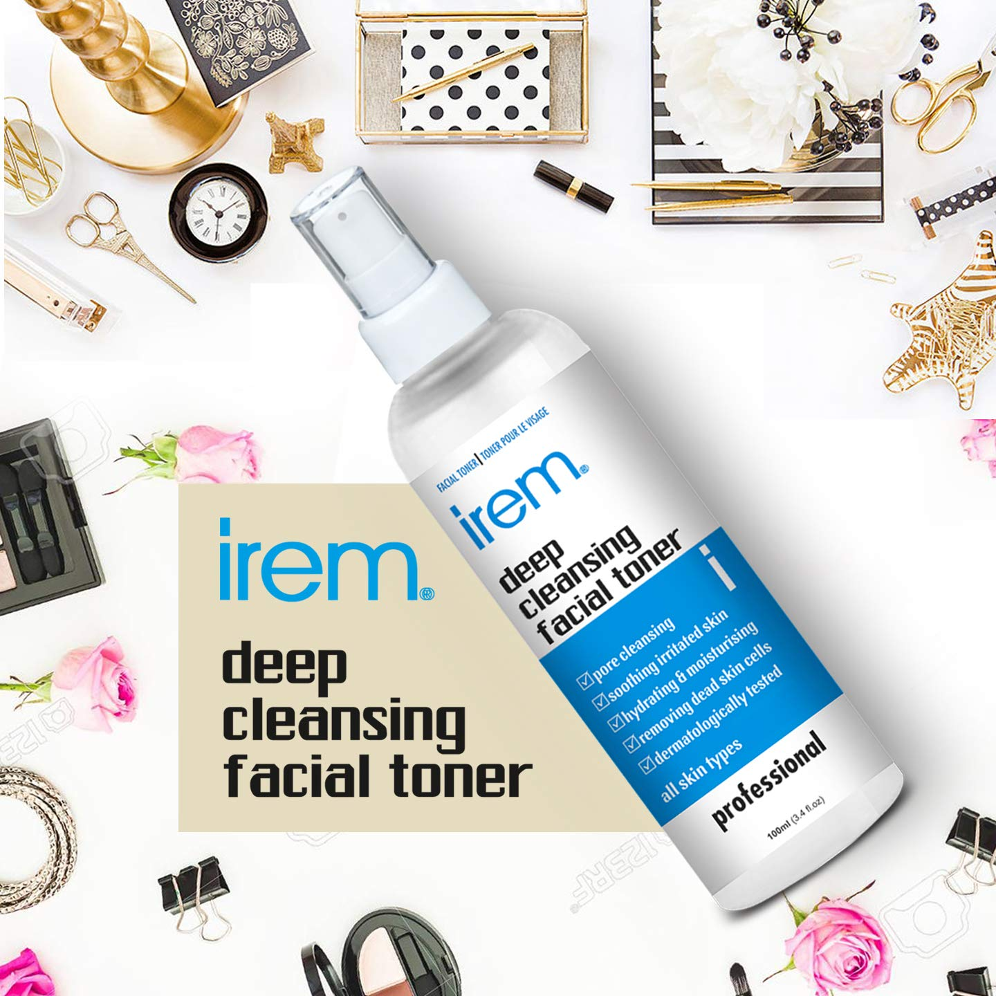 Irem Deep Cleansing Facial Toner for all skin types - Pore minimizing, Soothing & Hydrating contains Witch hazel, Aloe vera, Panthenol, Allantoin, Glycolic and more, 100m product image