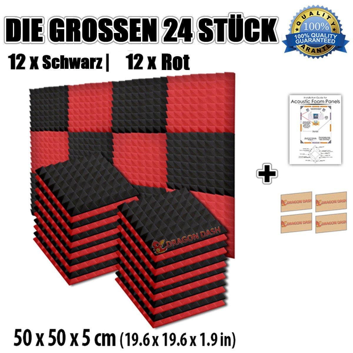 Super Dash Kombination (24 Pack) von 50 X 50 X 5 cm Rot & Schwarz Pyramide Akustikschaumstoff Noppenschaumstoff Akustik Dä mmmatte Schallisolierung Schaumstoff Polster Fliesen SD1034 (ROT & SCHWARZ)