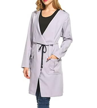 c8cc82ff93d77 Meaneor Women s Plus Size Open Front Lightweight Casual Trench Coat Gray 3XL