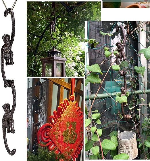 SUMTREE 4pcs Cast Iron S Hooks Decorative Heavy Duty Hangers Painted For Garden Hanging Plant Flower Baskets Birdhouses 8 Inch//20CM,Monkey