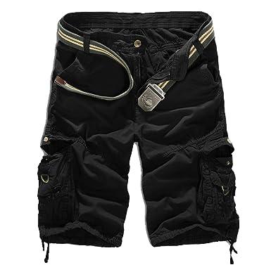 WSLCN Homme Eté Cargo Shorts de Loisir Capri Vintage Bermudas Mi-longues  Pantacourt (SANS 2ff5dc3af90