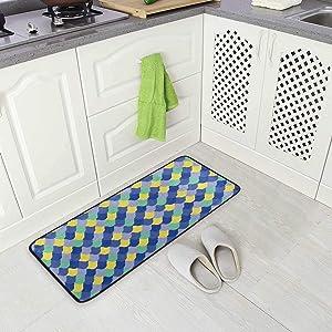 BLSYP Kitchen Rugs Runner Fish Scale Skin Mermaid Pattern Blue Yellow Green Comfort Floor Mat Bath Mats Bed Desk Bathroom Area Rug Long Doormat Carpet Home Hotel