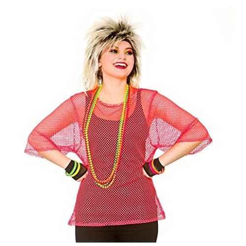 Adults 80's Rave Disco Hen Party Neon Mesh Top Fancy Dress Accessory-Neon Pink