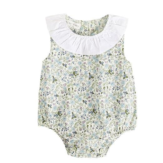 344eb7ee6c6 Sanlutoz Baby Girls Floral Sleeveless Rompers Flower Print Cotton Newborn  Girls Bodysuit (0-6