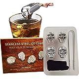 9M9 Reusable Stainless Steel Ice Cube Skull Metal Whiskey Stones for Drinks Skull Shaped Set of 4 Whiskey Wine Beer…