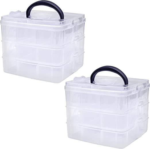 Kurtzy 3 Niveles Caja Almacenamiento Plástico Transparente - 18 ...