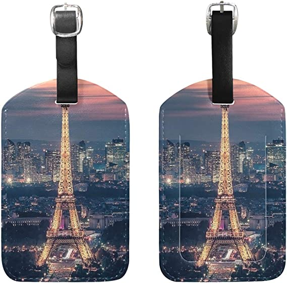 GoldK Black Cat Silhouette Leather Luggage Tags Baggage Bag Instrument Tag Travel Labels Accessories with Privacy Cover