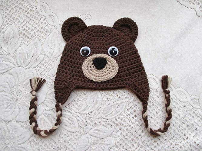 dab1e3dfae730 Amazon.com: Crochet Brown Bear Hat - Winter Hat or Photo Prop ...