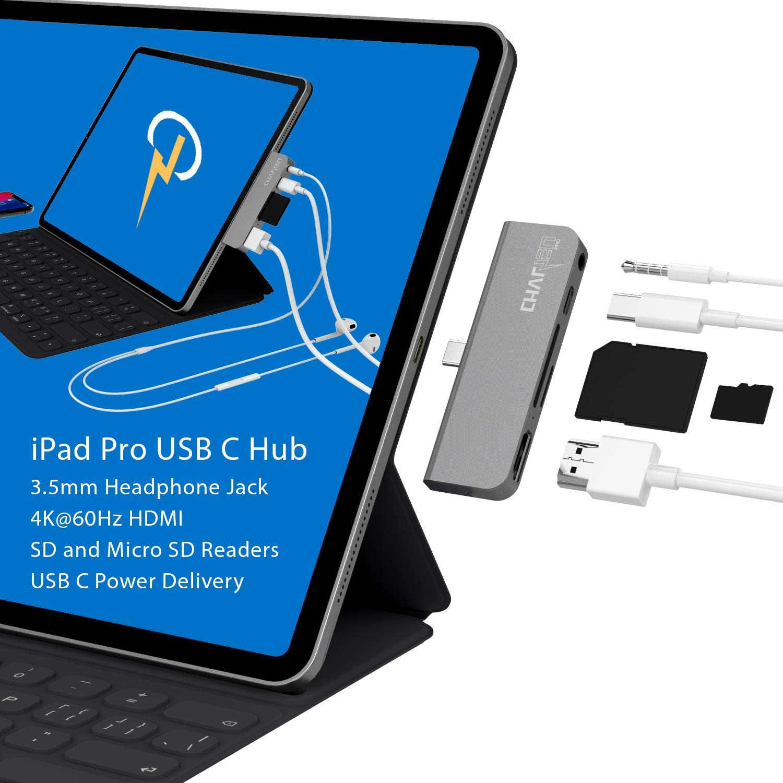 3.5mm Headphone Jack USB C PD All USB C laptops and Phones USB-C Hub, USBC Hub CharJenPro Certified USB C Hub for iPad Pro 2018 Note 10 HDMI 4K@60Hz microSD//SD 2019