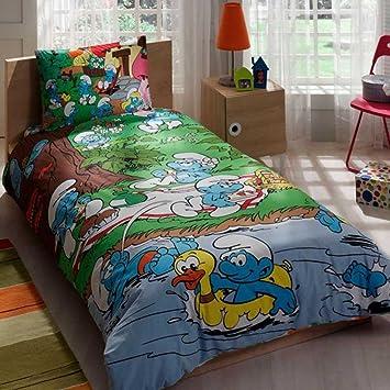 Pitufos ropa de cama juego de funda de edredón nuevo con licencia