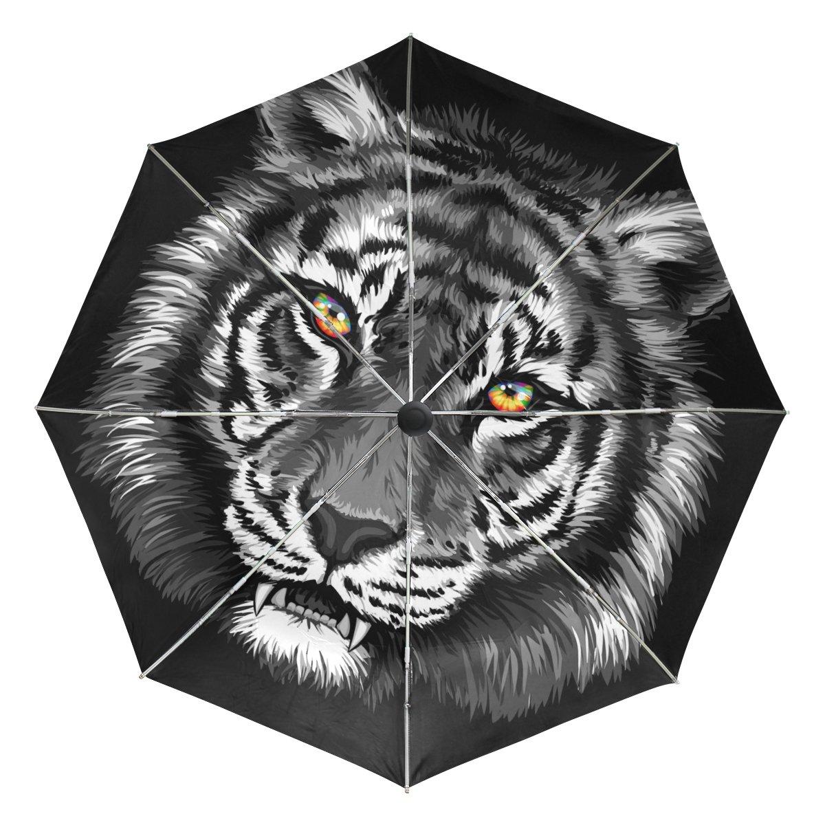 Bennigiry Tiger - Paraguas de viaje compacto resistente al viento y al agua, con cierre automático, plegable, resistente, ligero, fácil de transportar para ...