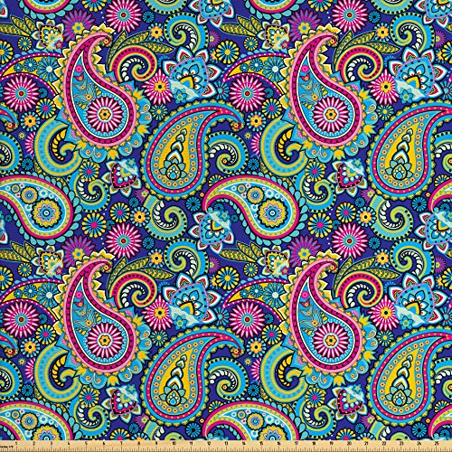 Ambesonne Navy and Blush Fabric by The Yard, Old Fashioned Eastern Floral Paisley Motif Vintage Oriental Elements, Decorative Fabric for Upholstery and Home Accents, Pink Blue Yellow ()