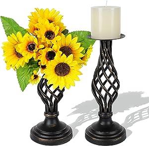 Metal Pillar Candle Holders Set of 2-8.4