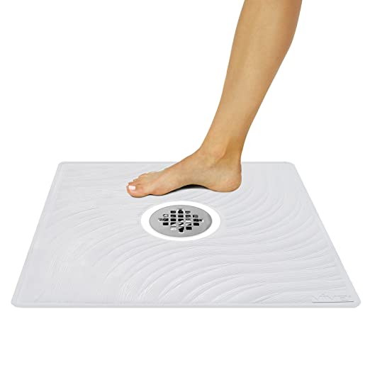 "Shower Mat by Vive - Square Bath Mats with Drain Hole - Non Slip Suction Cup Pad for Shower Stalls & Floors - Mold & Mildew Resistant 22"" x 22"" (White)"