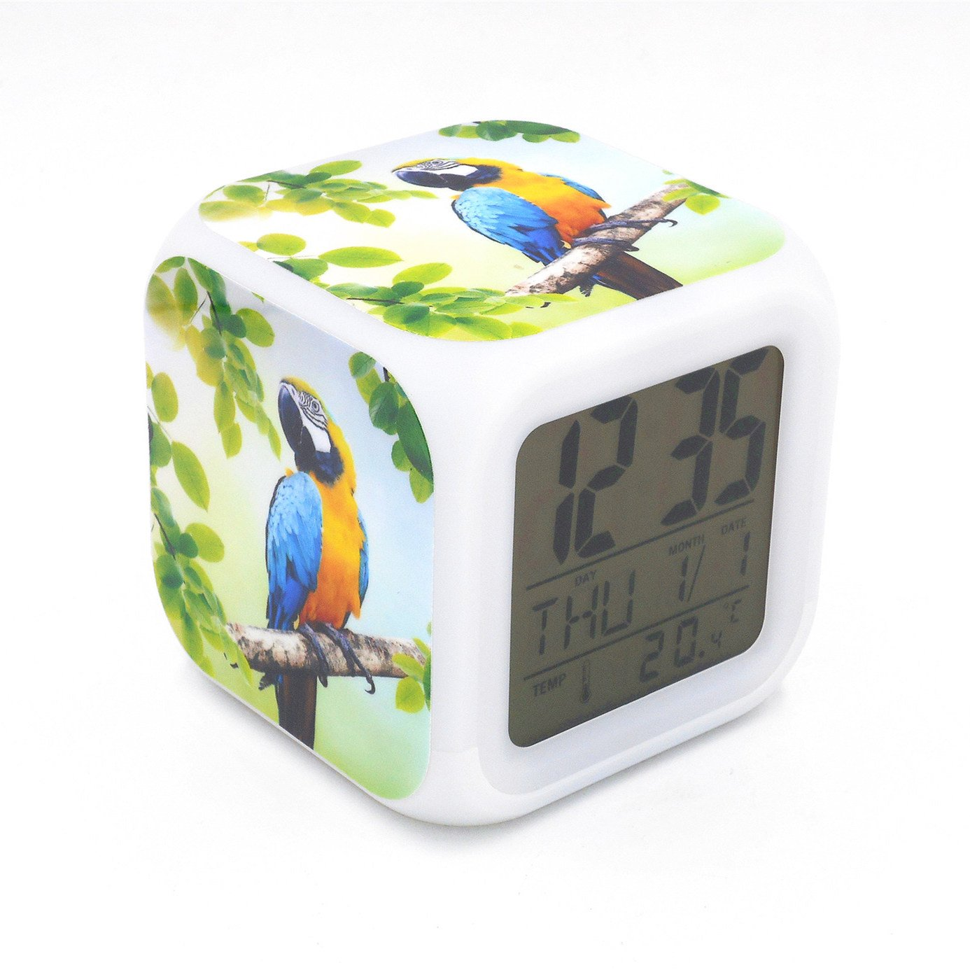 EGS New Blue-and-yellow Macaw Parrot Bird Animal Digital Alarm Clock Desk Table Led Alarm Clock Creative Personalized Multifunctional Battery Alarm Clock Special Toy Gift for Unisex Kids Adults
