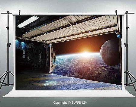 Fotografía de fondo de la Tierra Escena de un avión espacial Runway Gate Globo Galaxy Up to Stars imagen 3D fondos para fotografía fondo de fotografía fondo de fondo de estudio de