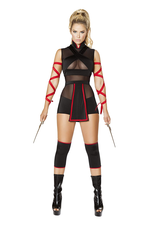 Amazon.com: 3 Piece Assassin Ninja Hit Woman Romper w/ Arm ...