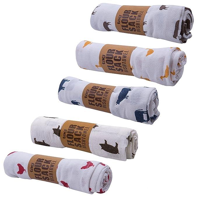 Etiqueta Farm Fresh floursack cocina algodón Dish Towels- Surtido de 5 - Pollo, vaca, oveja, cerdo, pato: Amazon.es: Hogar