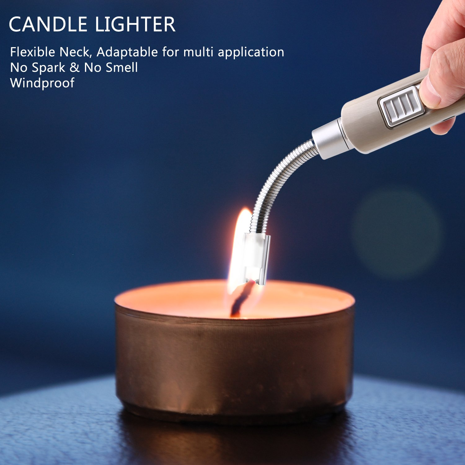 Cookan Electric Arc Lighter, USB Rechargeable No Spark Windproof Electronic Lighters for Candle BBQ, with Safety Switch, Long Neck 360° Flexible Rotation, Over 300 Times Spark per Charge (Metal Shell)