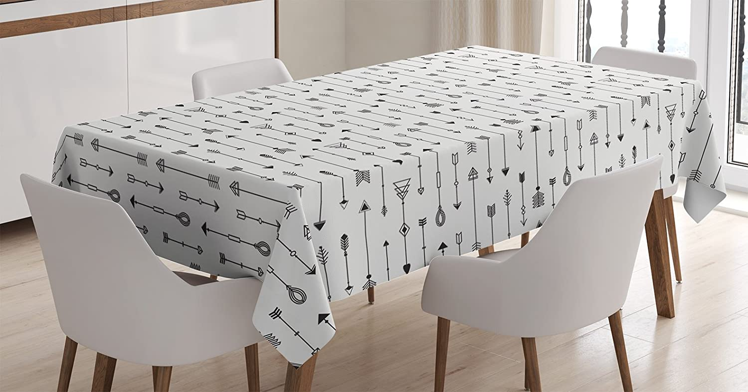Ambesonne Arrow Decor Tablecloth Old Traditional Ancient Native American Tribal Style Arrow in Boho Style Art Print Rectangular Table Cover for Dining Room Kitchen 60x84 inch Black White