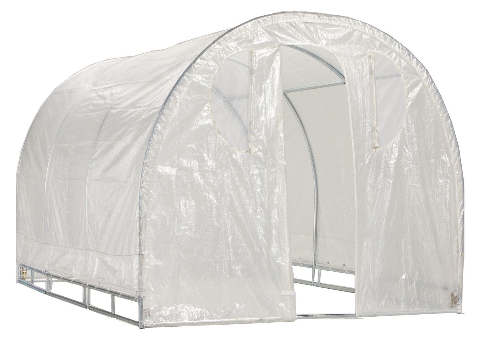 Greenhouse-Weatherguard Walk In Arched Top Garden Hot House Fully Enclosed - Screend Windows for Ventilation, Zippered Door (6'W x 12'L x 6'6''H) Small Hobby Greenhouse for large decks, patios, porches, backyards