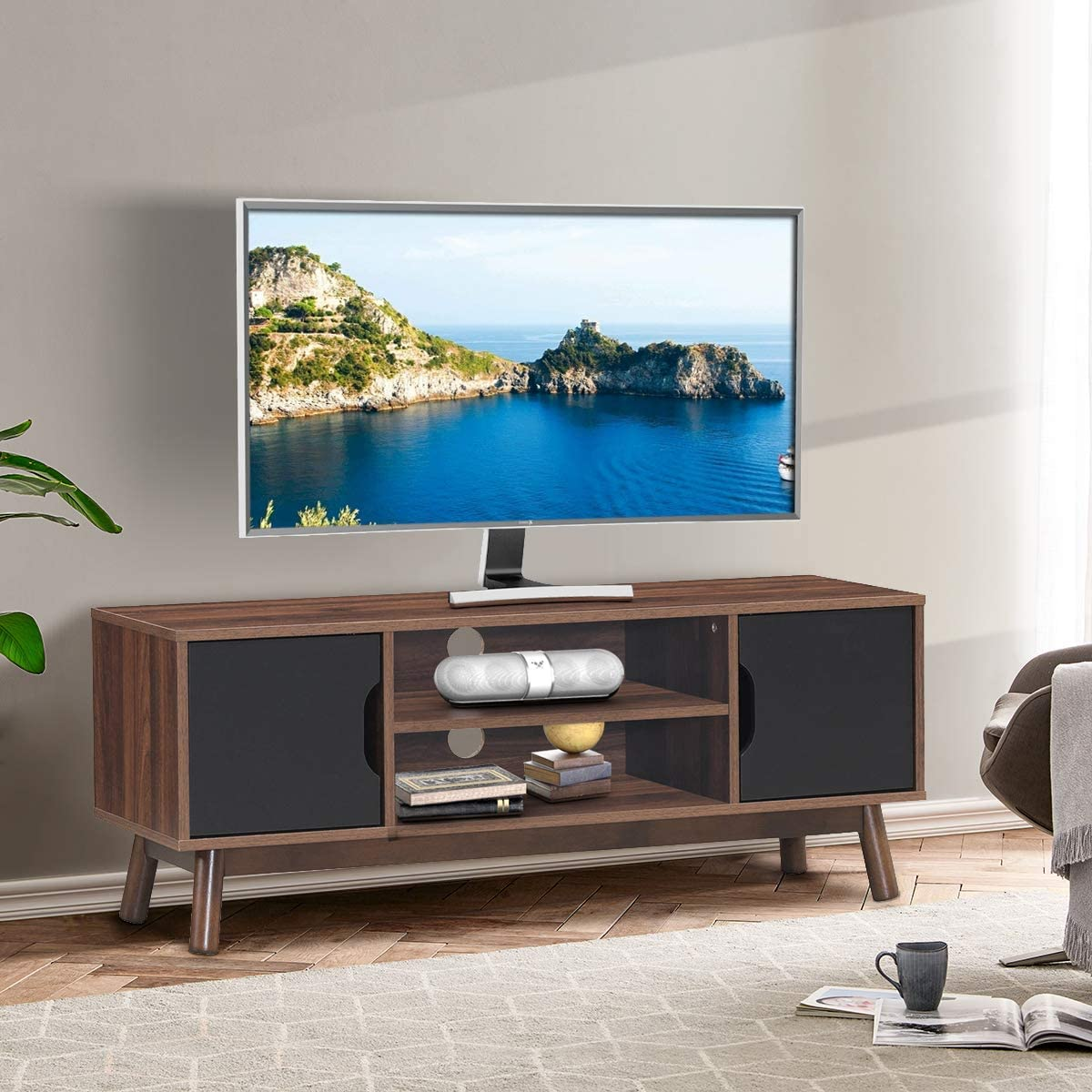 Tangkula TV Stand, TV Console for TVs up to 50 , Media Console with Cabinet Doors Open Storage Shelves, Wooden TV Stand Storage Console Table for Living Room Black