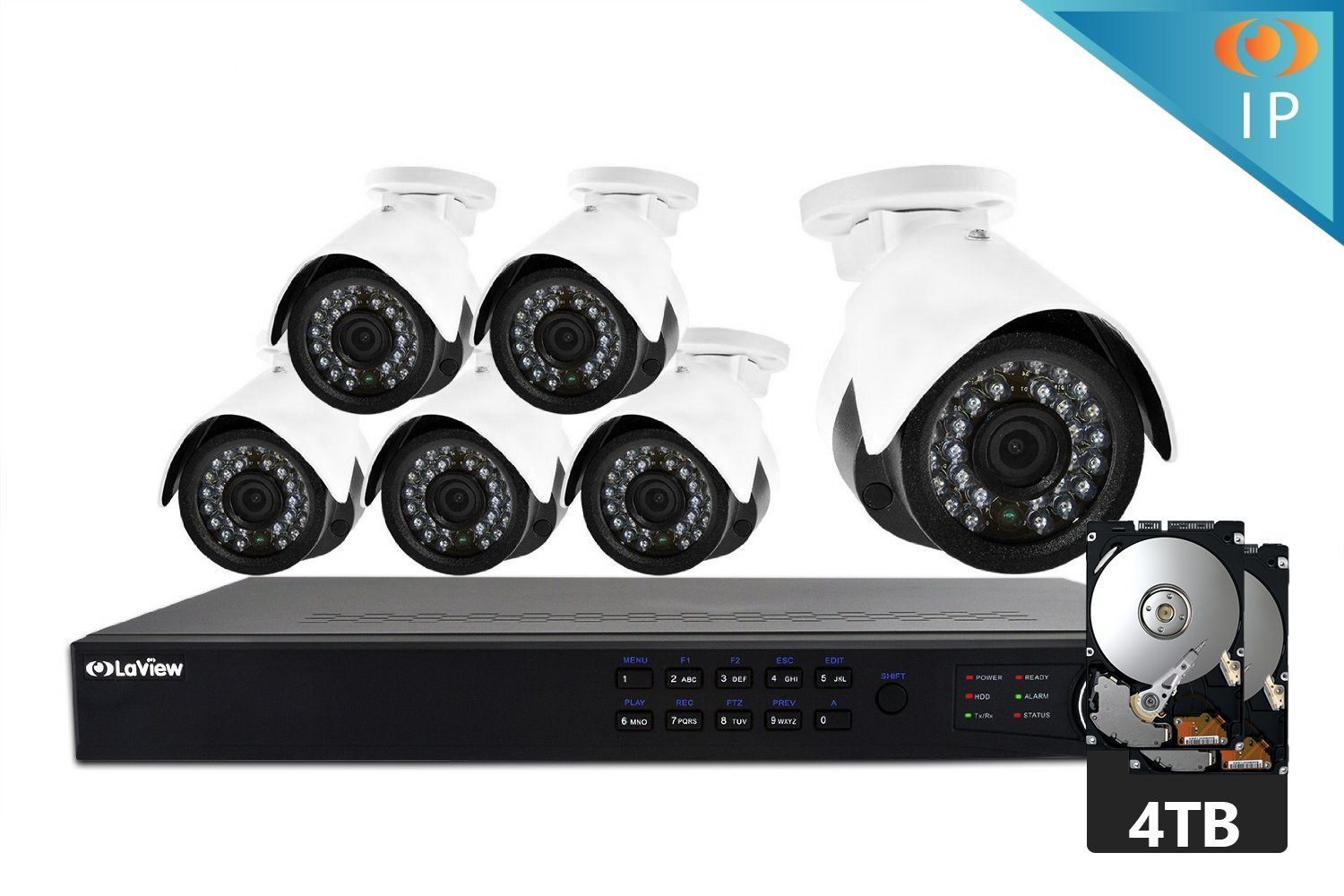 LaView 1080P HD IP 6 Camera Security System 8 Channel PoE 1080p NVR with a 4TB HDD Indoor/Outdoor Cameras Day/Night Surveillance System with Remote Viewing