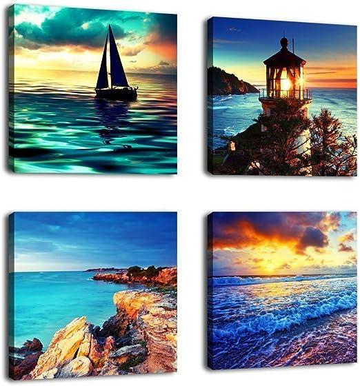 NATURE LIGHTHOUSE 6 Seascape 1-P Framed Canvas Print Box ~ More Size ~