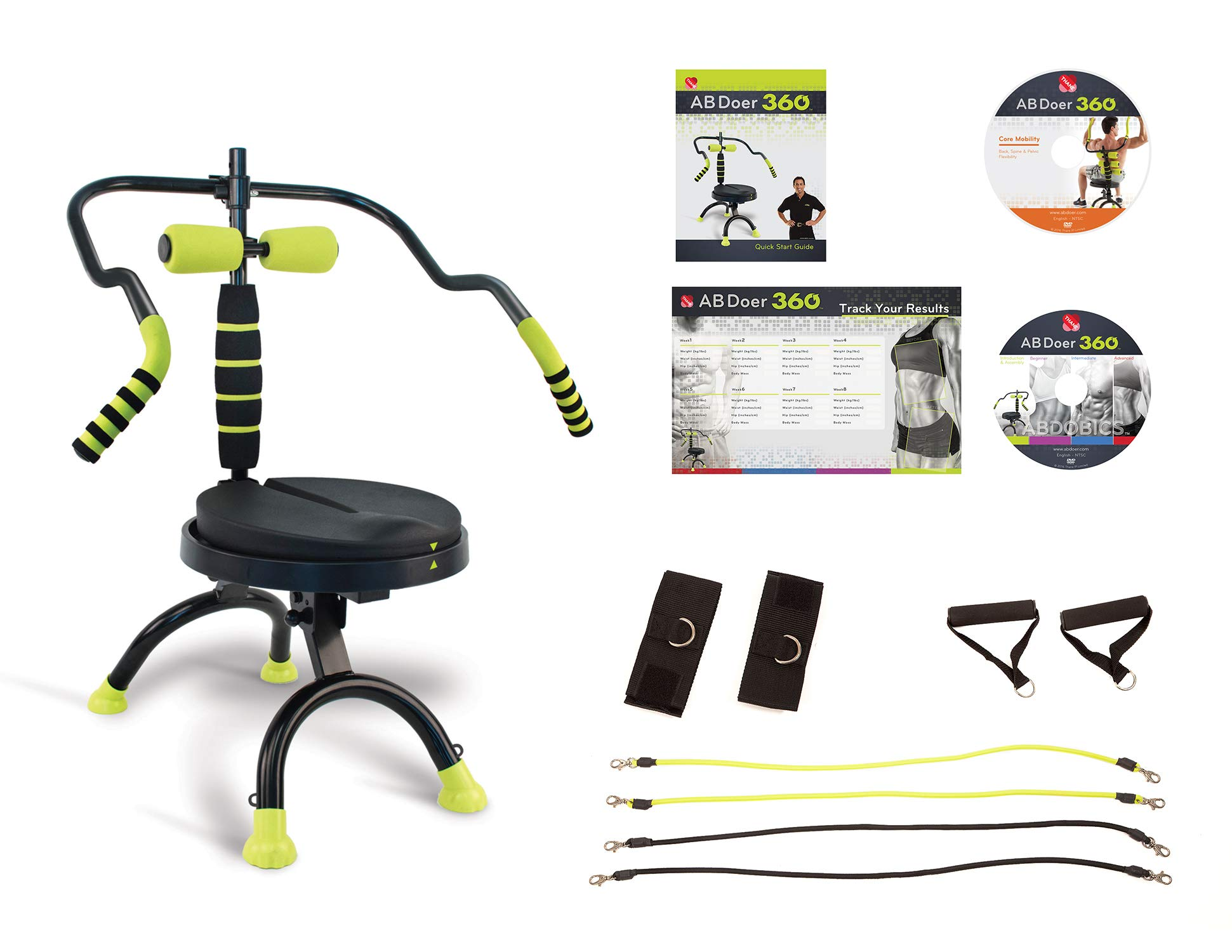 AB Doer 360 with Resistance Bands and Core Mobility DVD Transform Your Entire Body with Abdobics Ab Workout and Exercise Machine (DVD and Nutrition Guidebook Included)