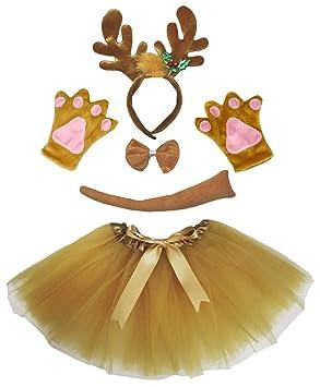 Petitebelle Navidad reno diadema Bowtie Guantes de cola Tutu ...